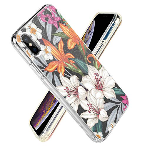 (iPhone Xs Case LAMEEKU iPhone X Mosaic Case, Cute Clear TPU Soft Slim Bumper, Floral Design Anti-Scratch Hard PC Mosaic Protective Phone Case, Cover for iPhone X/Xs 5.8''- Pharbitis Flower)