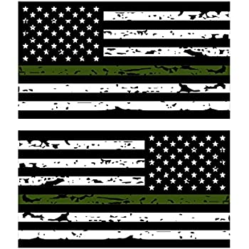 Amazoncom Thin Green Line Reflective Tattered US Flag Stickers - Motorcycle helmet decals militarysubdued american flag sticker military tactical usa helmet decal