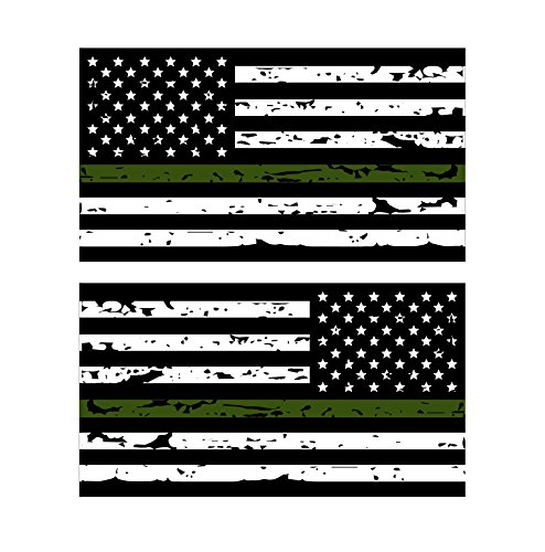 Thin Green Line Reflective Tattered US Flag Stickers (2) Standard and Reverse. 3M Outdoor Reflective Military and Federal Decal -