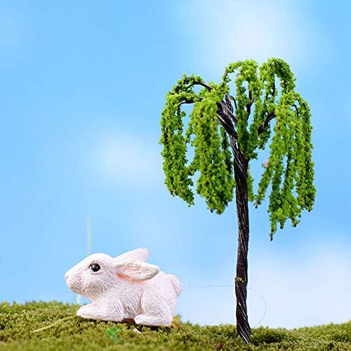 tianxiangjiaju Mini Plastic Metal Tree Garden Decoration Vivid Plant Potted Willow Tree (Willow Bay Resin)