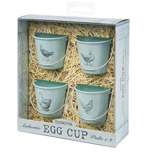 Eddingtons Egg Cup Buckets - Vintage Pale Bue - Set Of 4 Chicken (Pack of 4)
