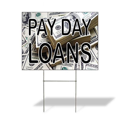 Plastic Weatherproof Yard Sign Money Loans Pay Day Loans #1 White for Sale Sign One Side 18inx12in