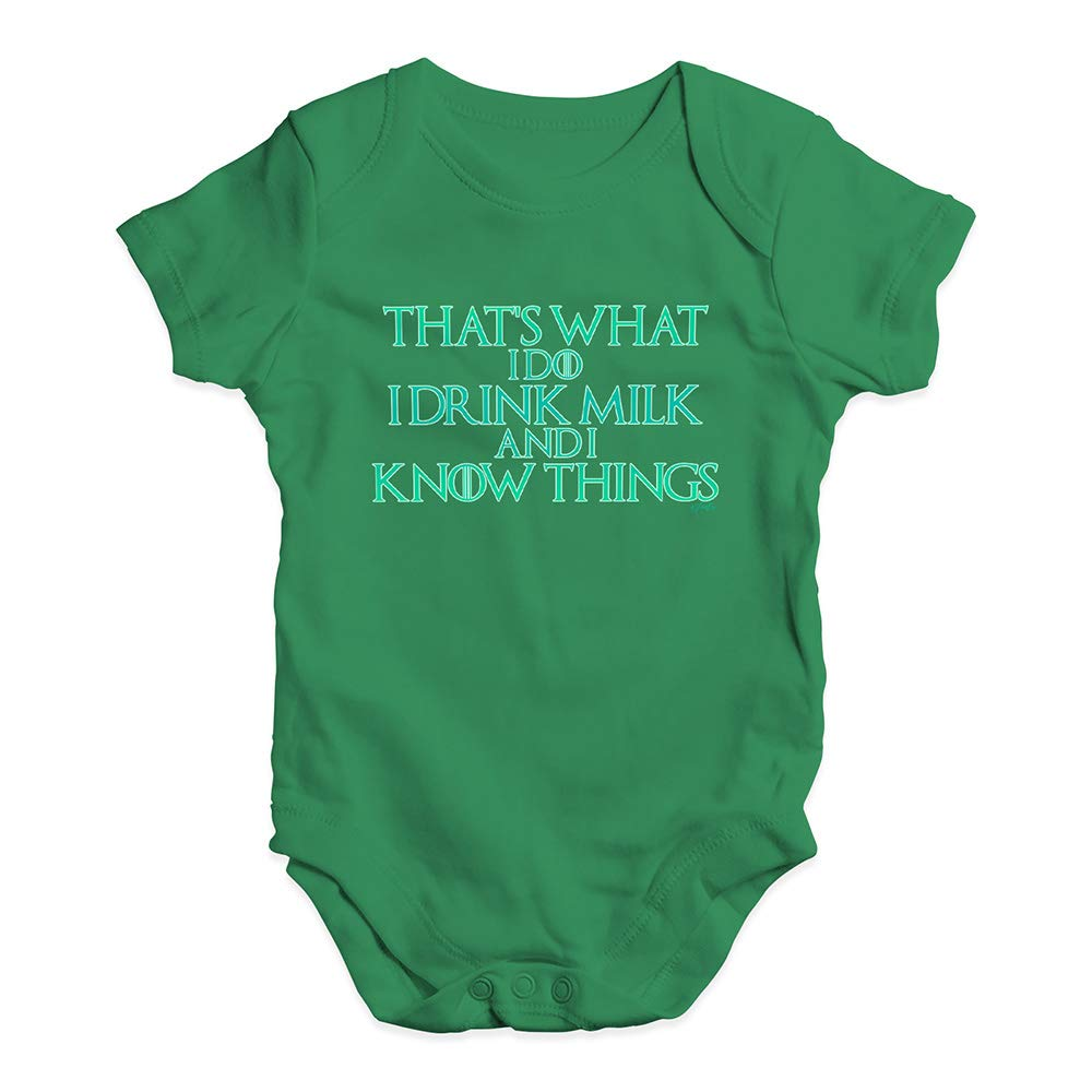 TWISTED ENVY Cute Infant Bodysuit I Drink Milk and I Know Things