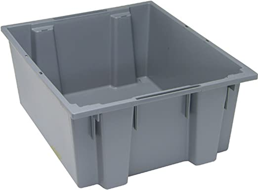 Gray Quantum SNT225GY 23-1//2-Inch by 19-1//2-Inch by 10-Inch Stack and Nest Tote 3-Pack