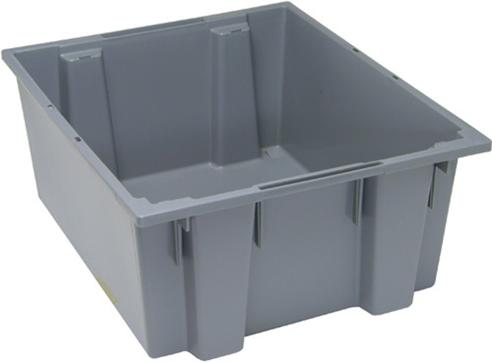 3-Pack Gray Quantum SNT225GY 23-1//2-Inch by 19-1//2-Inch by 10-Inch Stack and Nest Tote
