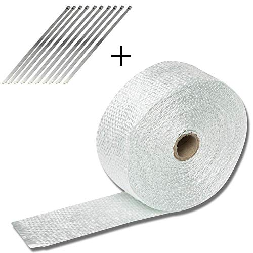 - 10M Car Motorcycle Exhaust Pipe Wrap Insulation Heat-Proof Glass Fiber Strip Exhaust Pipe Heat-Proof Strip Car Styling White