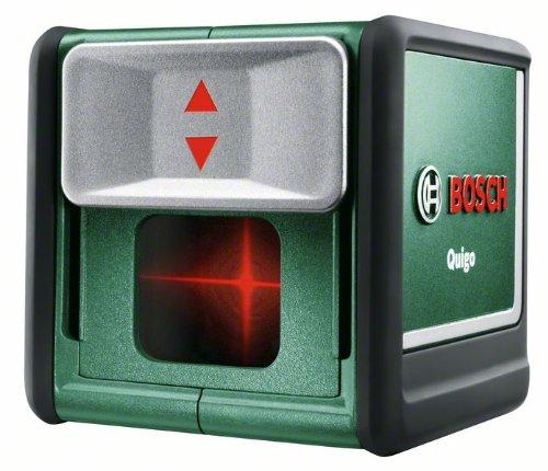 Bosch DIY Kreuzlinien-Laser Quigo 2. Generation, 2 x 1,5 V LR06 (AA) Batterien, Arbeitsklemme MM2, Schnell-Montage-Platte, Karton (7 m Arbeitsbereich)