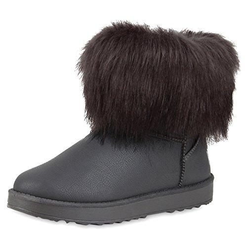 napoli-fashion Bequeme Warm Gefütterte Damen Schuhe Stiefel Schlupfstiefel Jennika Grau Braun