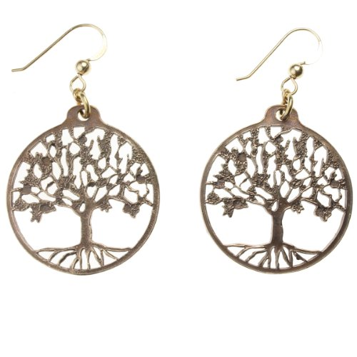 Delicate Tree of Life Peace Bronze Earrings on French - Missile Drop