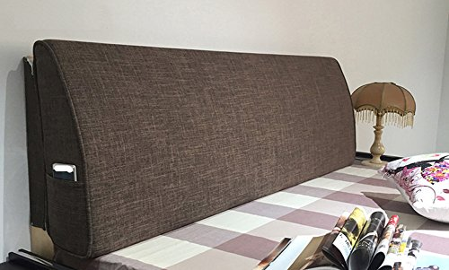 VERCART Linen Sofa Bed Large Soft Upholstered Headboard Filled Triangular Wedge Cushion Daybed Backrest Positioning Support Reading Pillow Office Lumbar Pad with Removable Cover Coffee 59x4x19inch