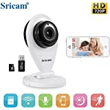 THINK SOGOOD 720P Sricam Wireless Security Camera, SP009 Indoor Wifi Camera with Two Way Audio, Night Vision, Motion Detection, Alarm Notification, for Windows/iPhone/Android(Include 8G Micro SD card)