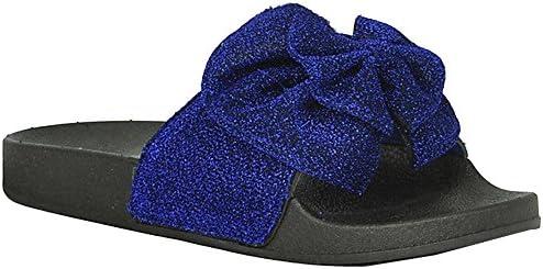0dacad3bda6a9 Refresh Footwear Women's Glitter Bow Slip On Slide Sandal (8.5 B(M ...