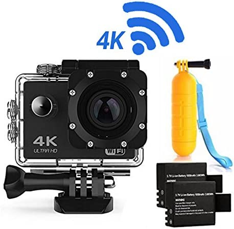 Action Camera 4K16MP WiFi Waterproof Sports Diving Cam DV Camcorder 170 Ultra Wide-Angle Len with Sensor 2 Rechargeable Batteries Floating Hand Grip and Accessories Kit