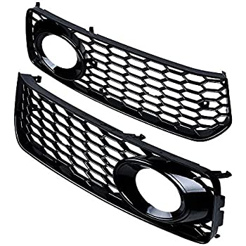 for Audi A4 B8.5 2013-16, Gloss Black for Audi A4 A5 Front Honeycomb Hex Mesh Foglight Open Vent Grill Intake Cover