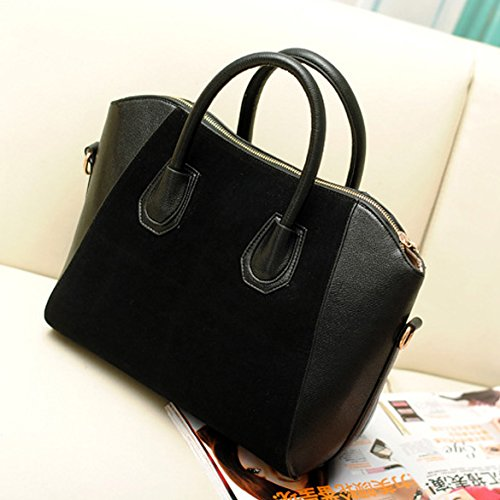 Frosted Tote (Vktech Women Handbag Fashion Shoulder Bags Tote Purse Frosted PU Leather Bag (Black))