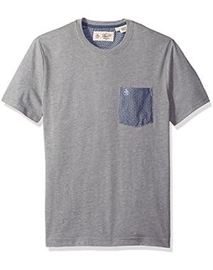 Men's Geo Print Woven Pocket Tee
