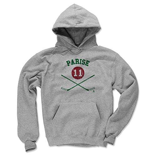 500 LEVEL Zach Parise Minnesota Wild Hoodie Sweatshirt (Large, Gray) - Zach Parise Sticks -