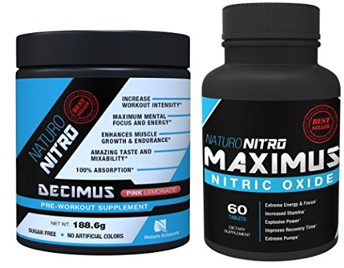 Pump Pack By Naturo Nitro, Decimus Pre-Workout and Maximus Nitric Oxide Tablets Combo Set - One Unit of Each