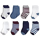 Touched by Nature Baby Organic Cotton Socks, Burgundy and Navy 8Pk, 0-6 Months