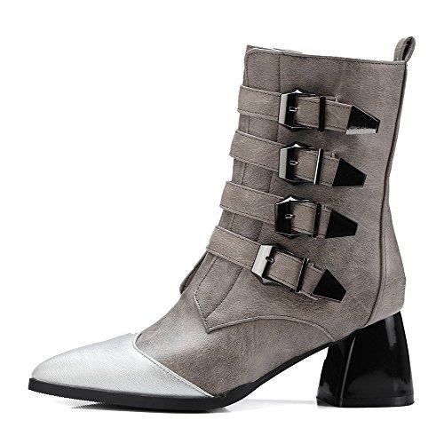 AgooLar Damen Weiches Material Niedrig-Spitze Gemischte Farbe Mittler Absatz Stiefel, Grau, 37