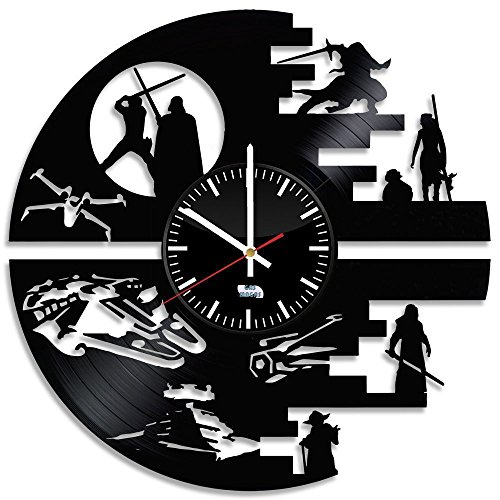 Star Wars Movie Vinyl Record Wall Clock - Get unique room wall decor - Gift ideas for men and boys – Star Wars Unique Modern (R2d2 Trash Can Costume)