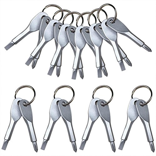 CoscosX 10 Sets Stainless Keychain Pocket Tool EDC Screwdriver Set with Keychain (Set Chain Key)