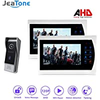 Jeatone 7 AHD 720P Video Door Phone Intercom with 2 Monitor Connect Up to 6 Indoor Screens video door intercom with IR Cut for better night vision 2V1