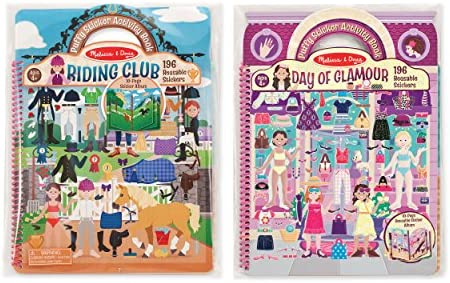 Melissa & Doug Deluxe Puffy Sticker Album Bundle – Day of Glamour and Horse Scenes