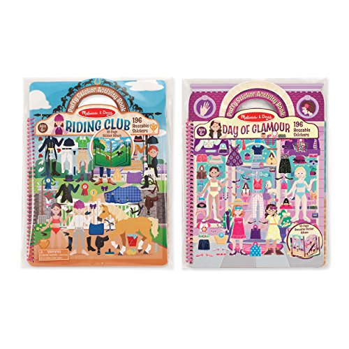 (Melissa & Doug Deluxe Puffy Sticker Activity Book Set: Day of Glamour and Riding Club - 392 Reusable Stickers)