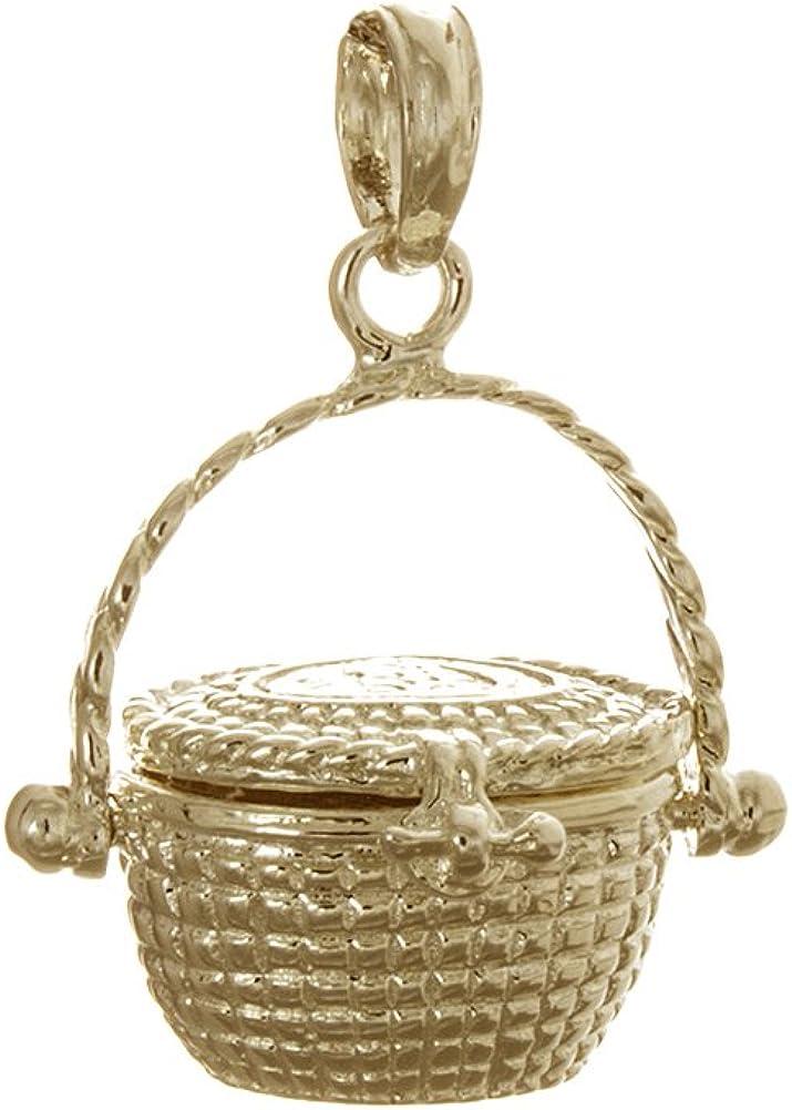 14k Yellow Gold Nautical Charm 3-D MINI Basket