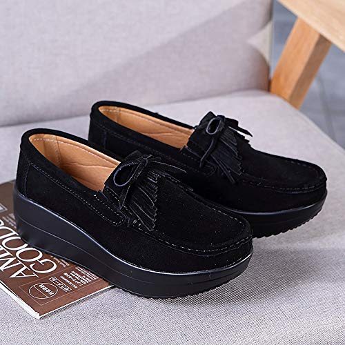 Yao Snail 41 Black Thick Bottom Leather Shoes Single Peas Women Fashion Fringed rwUCq7r