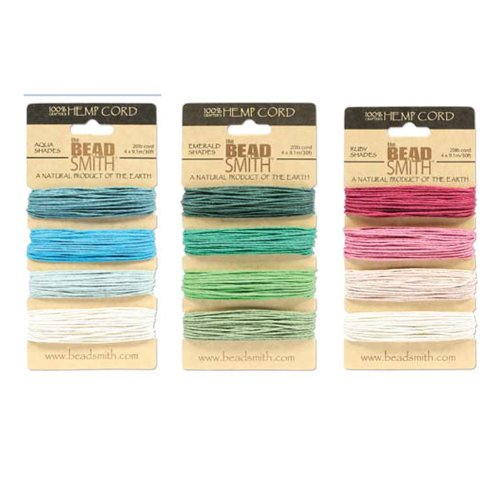 Green Blue and Pink Hemp Twine Mix 20lb Test 1mm Diameter 12 Colors 360 Feet of Cord and Free Jewelry Making Project (Mm Hemp 1)