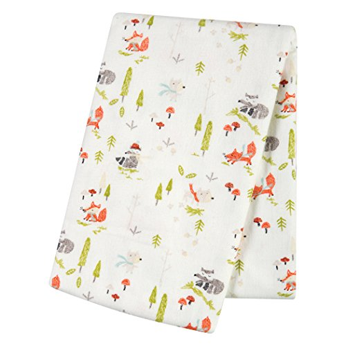 Trend Lab Winter Woods Deluxe Flannel Swaddle Blanket, Green/Red/Gray
