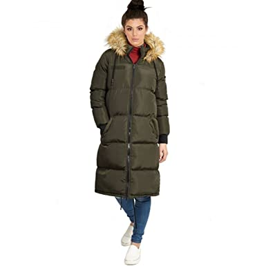 9eae6913bd72 Brave Soul Womens Ladies Knee Length 'Duvet Coat' Long Fur Parka Coat  Winter Jacket