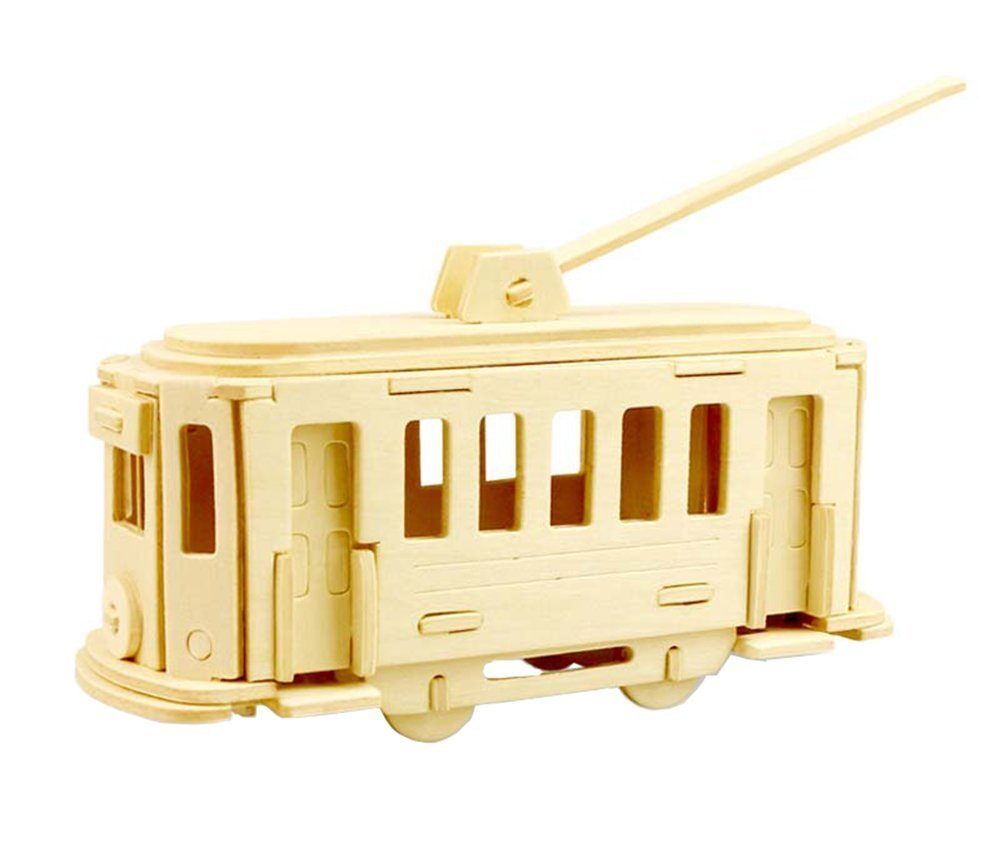 Wesource Children's Wooden 3D Streetcar Puzzle Pieces Children Education Toys Gift
