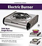 Stainless Steel Electric1000 Watt Single Countertop Burner