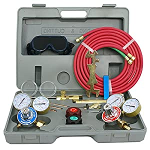 F2C Gas Welding& Cutting Torch Kit Oxy Oxygen Acetylene Welder Harris Type Tool Set with Portable Case