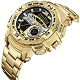 Multi-Function Sports Quartz Watch for Men Waterproof Military Wrist Digital Watches Stainless Steel Band (MIZUMS M8007 Gold)