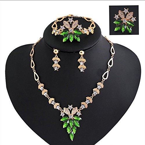 [iEFiEL Women Wedding Banquet Emerald Green Necklace Earrings Ring Bracelet Costume Jewelry Set] (Costume Jewelry Diamond Rings)