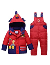 Genda 2Archer Little Boys Girls Winter Chicken Hooded Down Jacket Bib Pants Set