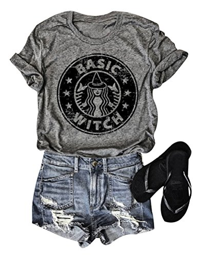 SCX Women Funny Letter Printed Tees Pattern Starbucks Printing T-Shirt Summer Short Sleeve Shirts