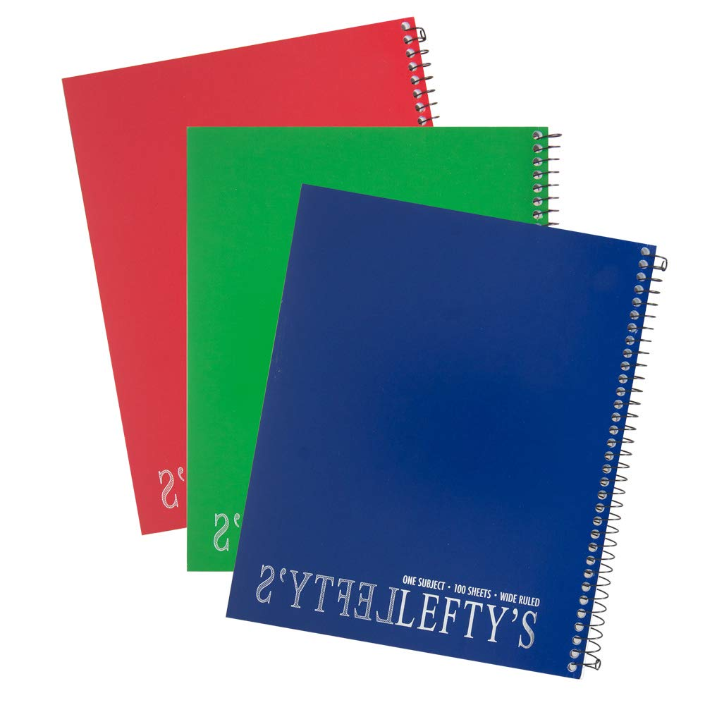 3 Left Handed Wide Ruled Notebooks With Mirrored Lefty, Assorted Colors