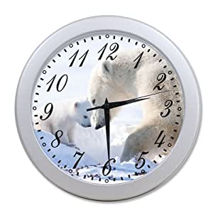 Home Decoration Living Room Decal Wall Clock Polar Bear Live In Snow Ice Land Wall
