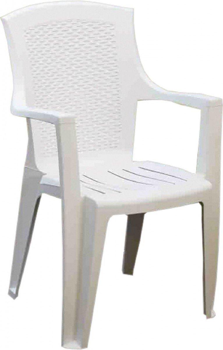 Dreams4Home Stapelsessel Set 'Dean I' - 4er oder 6er Set, Sessel, Stuhl ,Gartenstuhl, Balkonstuhl, stapelbar, platzsparend, Kunststoff, witterungsbeständig, Balkonmöbel, Gartenmöbel, Terrasse, Outdoor, in weiß, Ausführung:6er Set