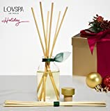 LOVSPA Birchwood Pine Scented Sticks Reed Oil Diffuser Set | Balsam Fir, Birchwood, White Pine & Amber Notes | Woodsy, Aromatic & Long Lasting Candle Alternative | Great Gift Idea for Dad!
