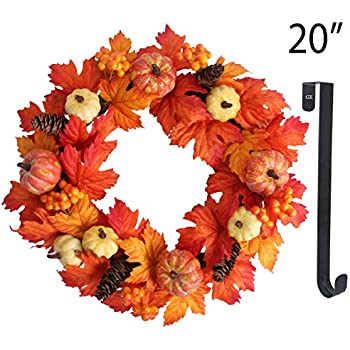 GameXcel Fall Wreaths for Front Door Maple Leaf Wreaths 20