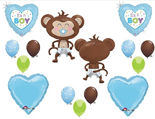 It's a Boy Monkey Wearing Diaper Baby Shower Balloons Decorations Blue Pacifier ()