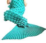 U-miss Mermaid Blanket Crochet and Mermaid Tail Blanket for adult, Super Soft All Seasons Thicken Sleeping Blankets(71''x35.5'', LP Green)