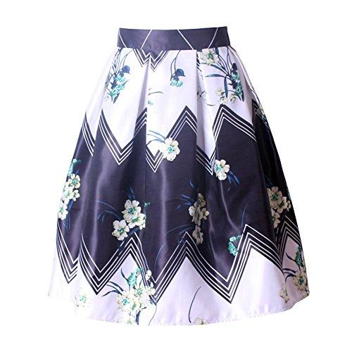 Mena UK Mujeres 1950s Vendimia Impreso Longitud De La Rodilla Floral Swing Full Circle Retro Faldas Plisadas ( Color : 8305 , Tamaño : One Size ) 8308-Black