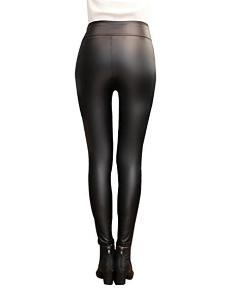 4c74c2da67c0aa Women's Stretchy Faux PU Leather Leggings Trousers High Waisted Sexy Flock  Warm Slim Pants , S